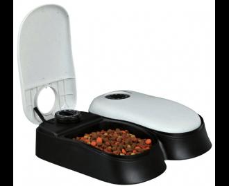 Futterautomat mit Zeitschaltuhr für Hunde und Katzen grau/schwarz