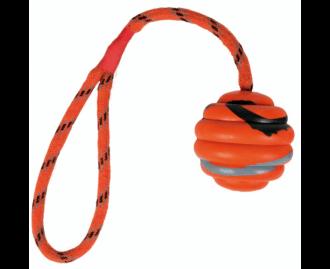Kautschukspielball (6 cm) für Hunde, mit Wurfschlaufe (30 cm) TRIXIE