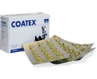 Coatex Kapseln für Hunde und Katzen und Vitaminflüssigkeit für dermatologische Probleme