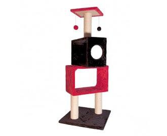Kratzbaum Leiter rot/schwarz mit Bällen für Katzen