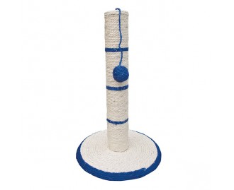 Rascador poste blanco/azul con bola para gatos