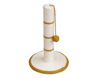 Rascador poste blanco/dorado con bola para gatos