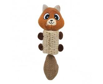 Juguete/rascador oso naranja y marron gama natural para gatos