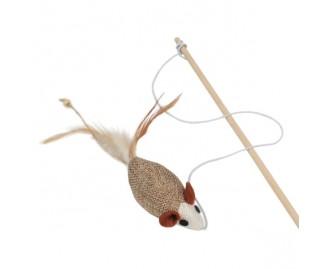 Palo con raton gama natural juguete para gatos