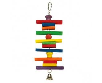 Juguete Maderas de colores con campana para pajaros