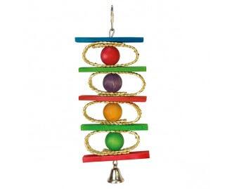 Juguete Aros bolas de colores con campana para pajaros
