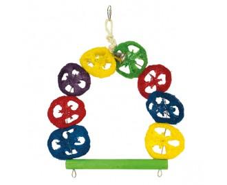 Columpio multicolor con campana para pajaros