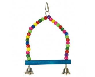Columpio multicolor con campanas para pajaros