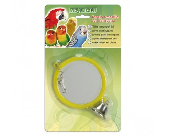 Espejo amarillo con campana para pajaros
