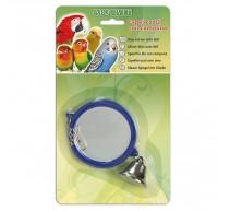 Espejo azul con campana para pajaros