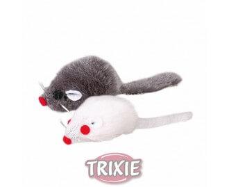 8 Knoten. Raton Plüsch TRIXIE 5cms. Grau / blanco Juguete para gatos